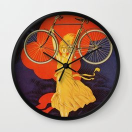 Vintage Peugeot Bicycles Statue Gold Woman  Wall Clock