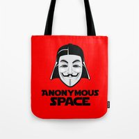 anonymous Tote Bags featuring Anonymous by Tony Vazquez