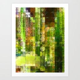 Cactus Garden Abstract Circle Sections 2 Art Print