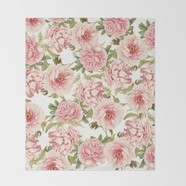 old fashioned peonies Throw Blanket