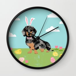 Dachshund dog breed easter pet portrait dog breed gifts pure breed dachsie doxie dapple Wall Clock