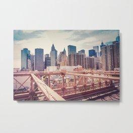 Overlooking Manhattan from Brooklyn Bridge Metal Print