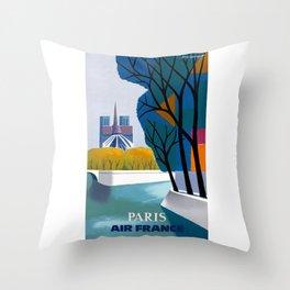 1959 Paris Air France Advertising Poster Throw Pillow