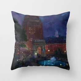 American Masterpiece 'Wet Night, Washington Square, Greenwich Village, NY' by John French Sloan Throw Pillow