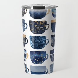 Pretty Blue Coffee Cups Travel Mug