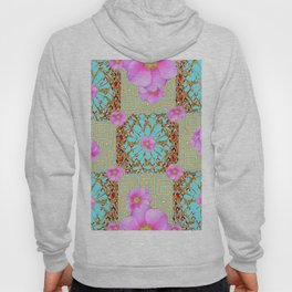 Delicate French Style Aqua Pink Wild Rose Gold Jewelry Abstract Hoody