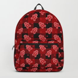 Christmas Ginger Bread Cookie Buffalo Plaid Xmas Pattern (red and black) Backpack
