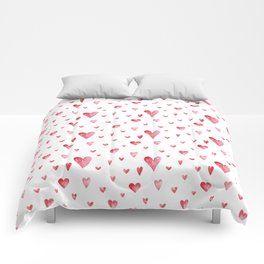 Watercolor print with hearts Comforters