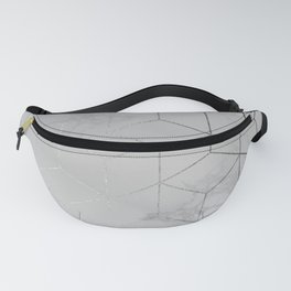 Silver Platinum Geometric White Mable Cubes Fanny Pack