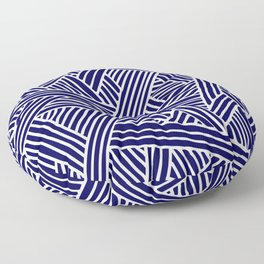 Abstract navy blue & white Lines and Triangles Pattern - Mix and Match with Simplicity of Life Floor Pillow