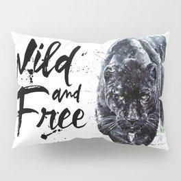 Panther watercolor painting predator animals puma jaguar wild & fre Pillow Sham