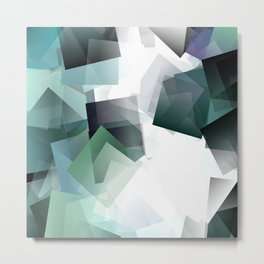 Geometric art in blue, green and white blocks. A translucent dimension. Metal Print