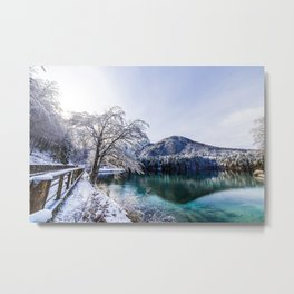 first snow at the mountain lake Metal Print