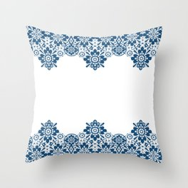 Blue lace on white background . Throw Pillow