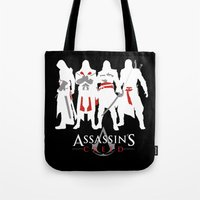 assassins creed Tote Bags featuring Assassins by Pixel Design