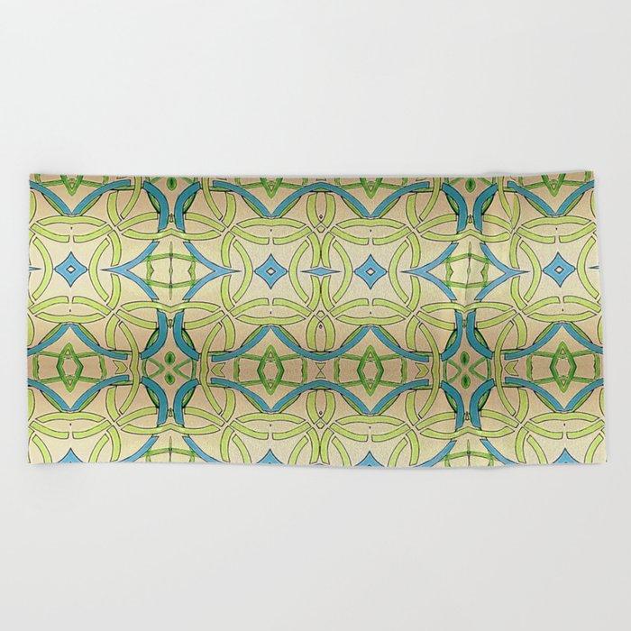 Blue Green Abstract Beach Towel