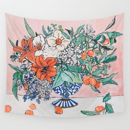 California Summer Bouquet - Oranges and Lily Blossoms in Blue and White Urn Wall Tapestry