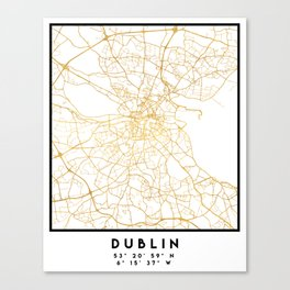 DUBLIN IRELAND CITY STREET MAP ART Canvas Print