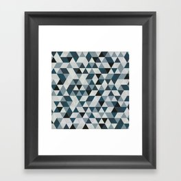 Sea Blue and Grey / Gray - Hipster Geometric Triangle Pattern 02 Framed Art Print