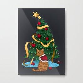 Guilty Christmas Kitty Metal Print