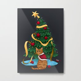 Christmas Tree Santa Cat Metal Print