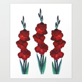 Watercolor red flowers Art Print