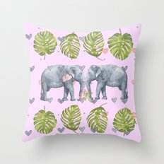 I Will Never Forget - Elephant Watercolor - Bagaceous Throw Pillow