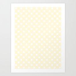 Small Polka Dots - White on Cornsilk Yellow Art Print