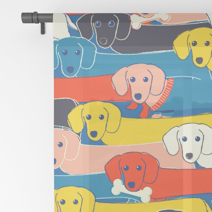 COLORED DOGS PATTERN 2 Sheer Curtain