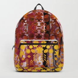 Golden copper autumn foliage and flowers painting Backpack