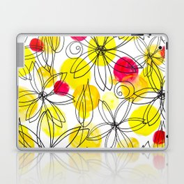 Pineapple Upside Down Floral: Bright Paint Spots with Black Ink Floral Elements Laptop & iPad Skin
