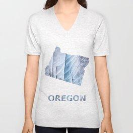 Oregon map outline Light steel blue clouded wash drawing Unisex V-Neck