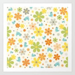 Retro Spring Flowers Art Print