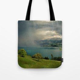 arising storm over lake lucerne Tote Bag