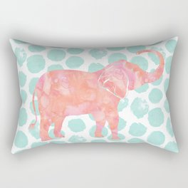 Mint Watercolor Elephant on Coral Dots Rectangular Pillow