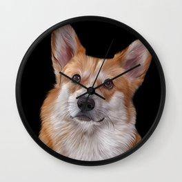 Drawing Dog breed Welsh Corgi 1 Wall Clock