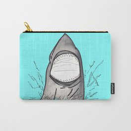 Summer Shark Hand Drawn and Painted on Teal Carry-All Pouch