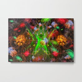 Bioluminescent Plankton and Jellyfish Metal Print