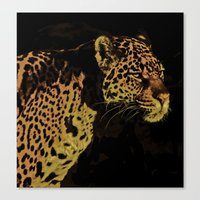 jaguar Canvas Prints featuring Jaguar by Die Farbenfluesterin