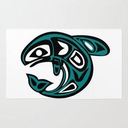 Abstract Tribal Fish Tattoo Rug
