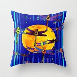 Dragonflies Moon Fantasy Blue Art Abstract Throw Pillow