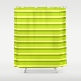 Lime Green Stripes Shower Curtain