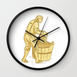 Medieval Miller With Bucket Drawing Wall Clock