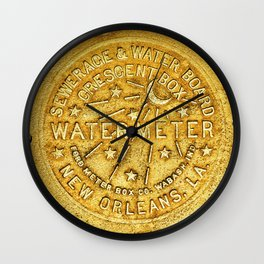 New Orleans Water Meter Louisiana Art NOLA French Quarter Coaster Poster Yellow Gold Crescent City Wall Clock