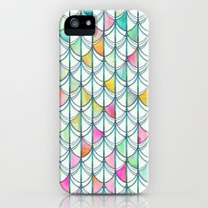 Pencil & Paint Fish Scale Cutout Pattern - white, teal, yellow & pink iPhone (5, 5s) Slim Case