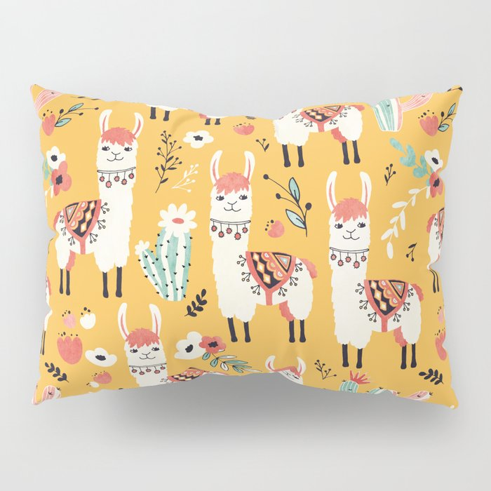 White Llama with flowers Pillow Sham