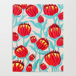 Bold Protea Flower Pattern - Red Yellow Green Poster