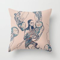 jellyfish Throw Pillows featuring Jellyfish by Huebucket