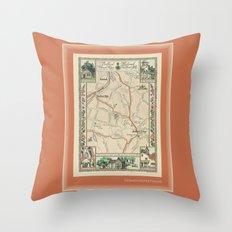 Bedford Village New York Map Print Throw Pillow