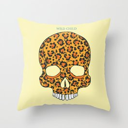 Wild Child Skull Throw Pillow